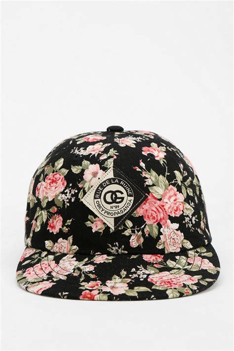 Floral Hat obey floral snapback hat in black lyst