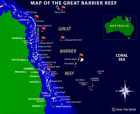 great barrier reef map map of the great barrier reef osprey reef ribbon reefs cairns coral sea dive the world