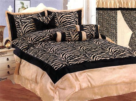 zebra pattern comforter 7 pieces satin beige black flocking zebra pattern
