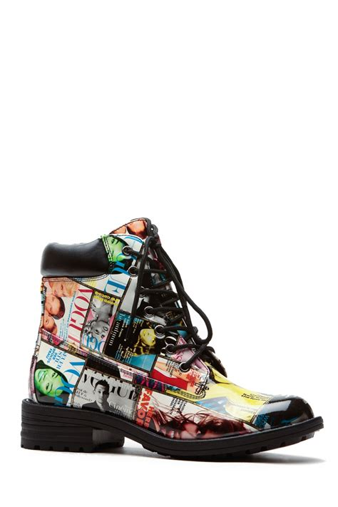 colorful boots colored magazine collage patent combat boots cicihot