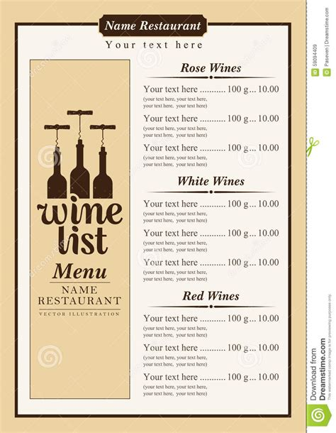 wine list stock vector image 59094409