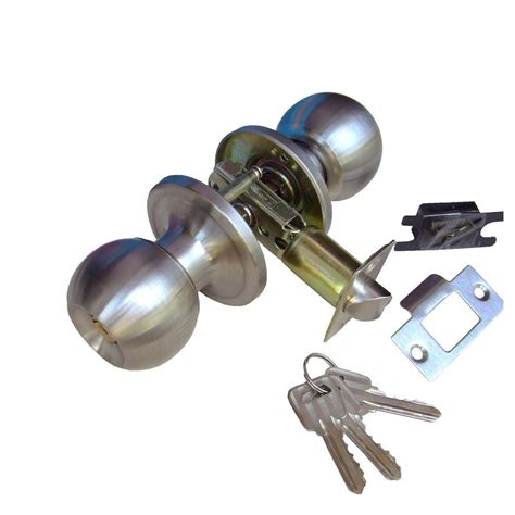 Entrance Door Knob Lock Set by Rfl Satin Stainless Steel Cylindrical Door Knob Handle