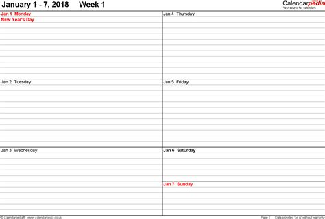 weekly calendar  calendar weekly printable