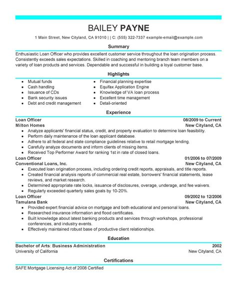 Resume Profile Exles Mortgage Loan Officer Loan Officer Resume Exles Finance Resume Sles