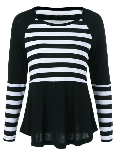 Striped Panel Sleeve Shirt raglan sleeve striped panel t shirt in white and black