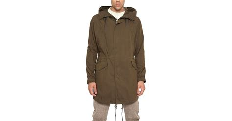 Jacket Parka Bahan Canvas mcq cotton canvas parka jacket in green for lyst