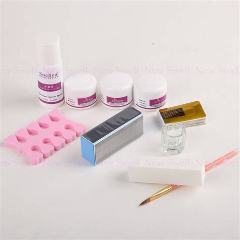 Acrylic Nail Set by Nail Kit Acrylic Powder Liquid Nail Brush Nail Form