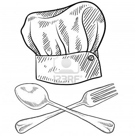Doodle Hat B doodle style chef hat with fork and spoon stock photo