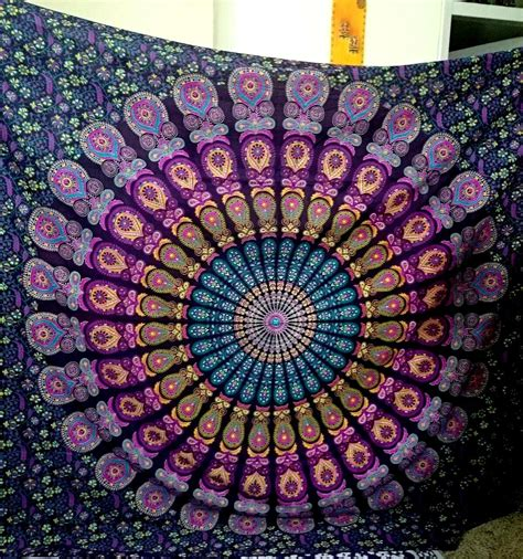 Home Interior Decoration Accessories by Lavender Paradise Peacock Tapestry Mandala Tapestry