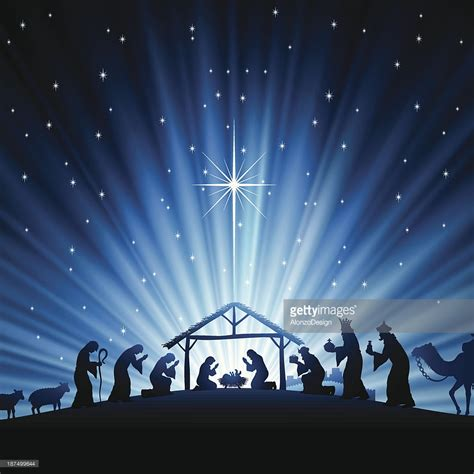 christmas nativity scene vector art getty images