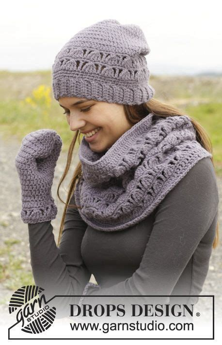 drops design tutorial video crochet drops hat neck warmer and mitten with lace
