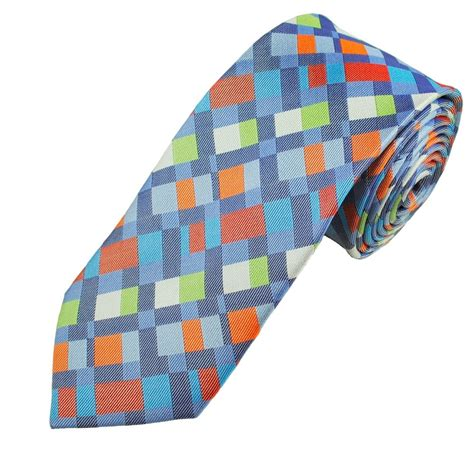 orange patterned ties orange blue green white patterned men s silk tie from