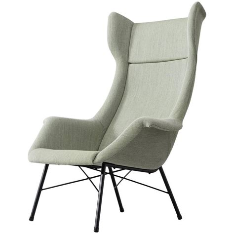 Mid Century High Back Chair by Mid Century Reupholstered High Back Lounge Chair For Sale