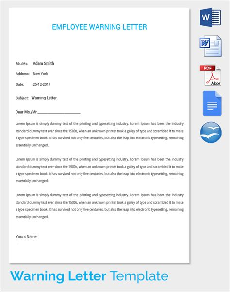 free warning letters employee templates docoments ojazlink
