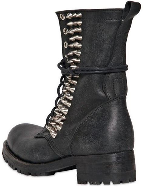 jeffrey cbell 40mm halen spiked leather boots in black