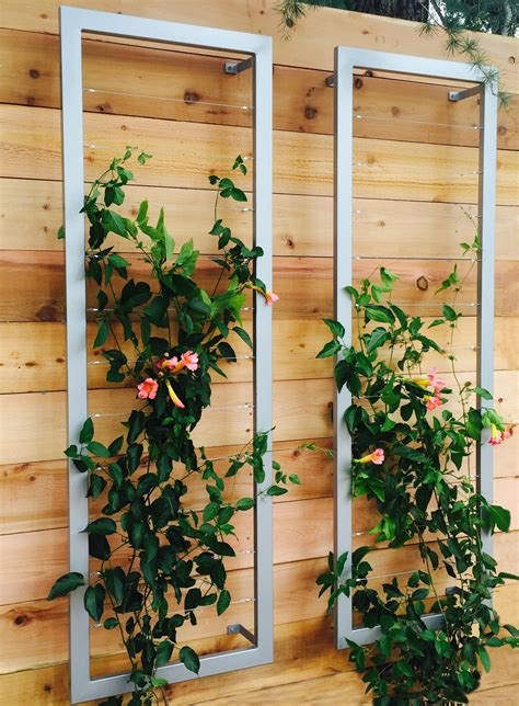 a pair of ina wall trellises create a lovely vertical