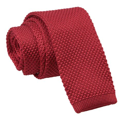 burgundy knit tie dqt knit knitted plain solid burgundy casual mens