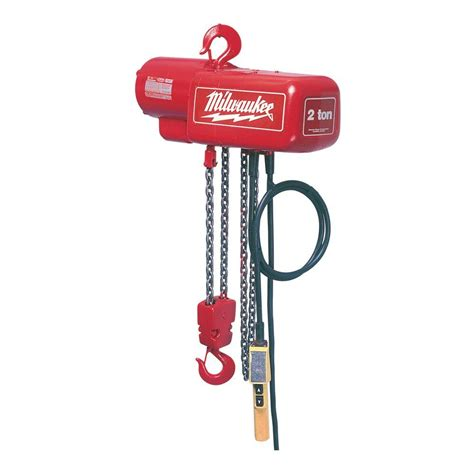 Abc Plumbing Heating Cooling Electric by Milwaukee 1 2 Ton 15 Ft Electric Chain Hoist 9561 The Home Depot