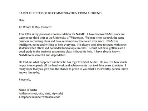 Closing Letter For A Friend 22 Recommendation Letters For A Friend Free Sle