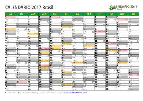 Calendario Brasileiro 2017 Calend 193 2017 Para Imprimir Feriados