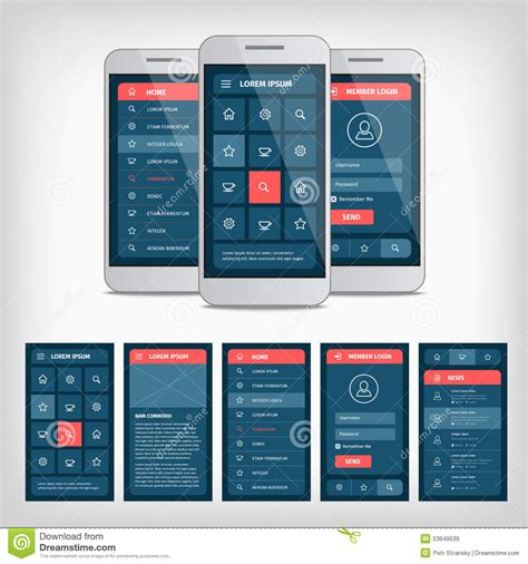 pattern ui mobile vector conception of mobile user interface stock vector