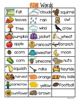 theme definition in spanish fall autumn vocabulary list 32 words and pictures free by