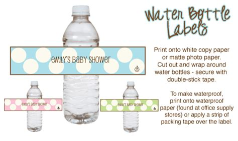 free water bottle labels for baby shower template polka dot baby shower theme ideas with pictures and printables