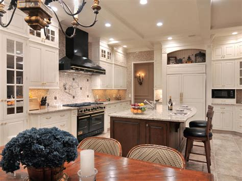 black and white traditional kitchen traditional kitchen with black gas range and hgtv