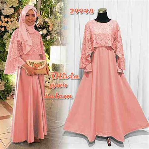 Baju Gamis U Pesta model dress muslim kombinasi brukat model dress brukat