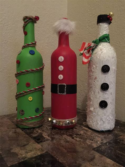 items similar to repurposed wine bottle christmas decor on
