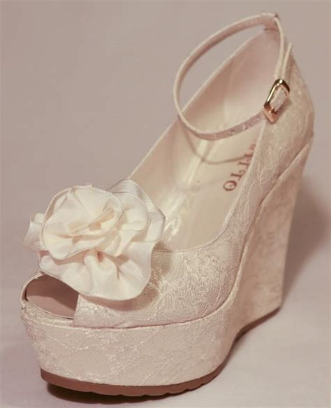 Ivory Wedding Shoes Wedge Heel by Wedding Wedding Shoes Bridal Wedge Shoes Bridal Shoes