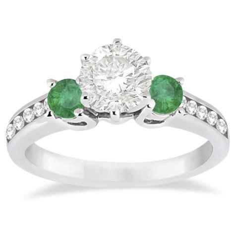 three emerald engagement ring 14k white