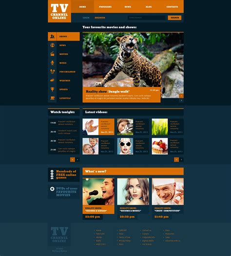 Tv Channel Website Templates Free Fashionable Tv Channel Website Template 47350