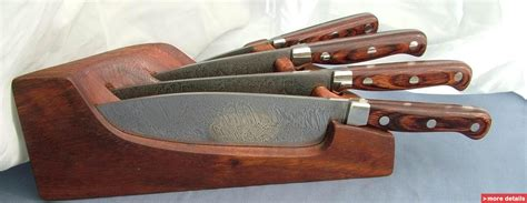 damascus kitchen knives set with wooden stand pakistan