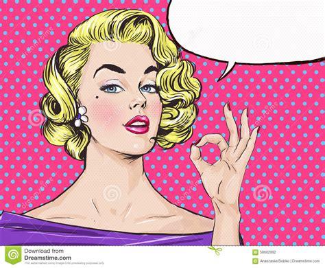 short hair comic book woman pop art blond girl is showing ok sign with speech bubble
