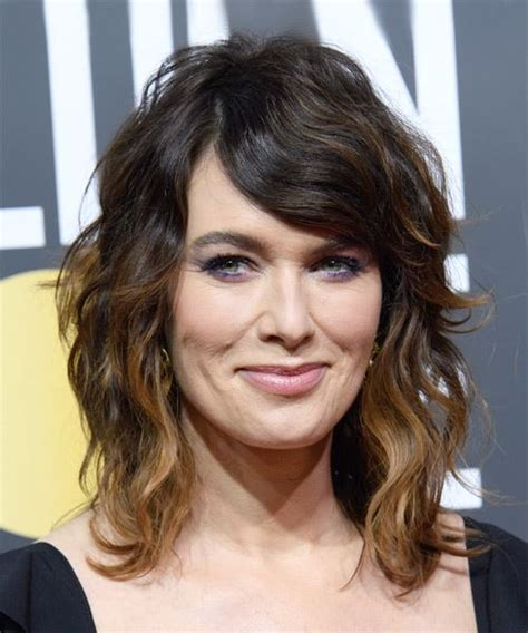 shag with sideswept bangs lena headey short wavy casual shag hairstyle with side