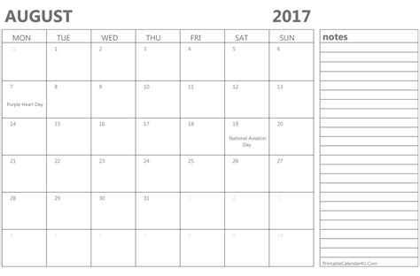 Calendar 2017 August Template Printable August 2017 Calendar Template Monthly Calendar