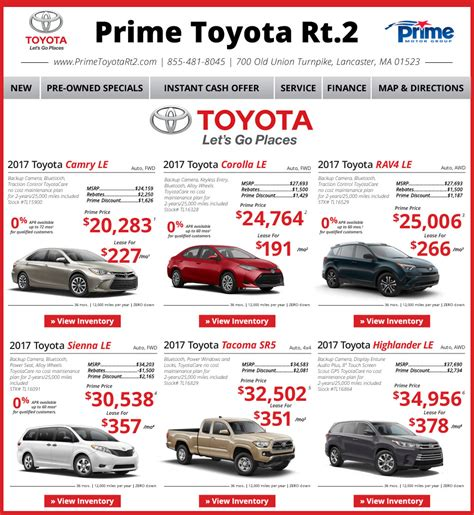 Prime Toyota Rt 2 Prime Toyota Route 2 Toyota Dealership In Lancaster Ma