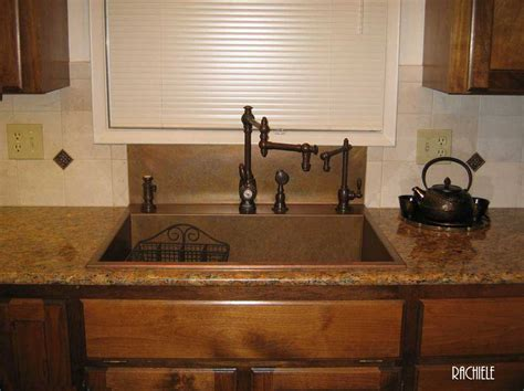 kitchen sink with backsplash drop in or top mount custom copper sinks made in florida