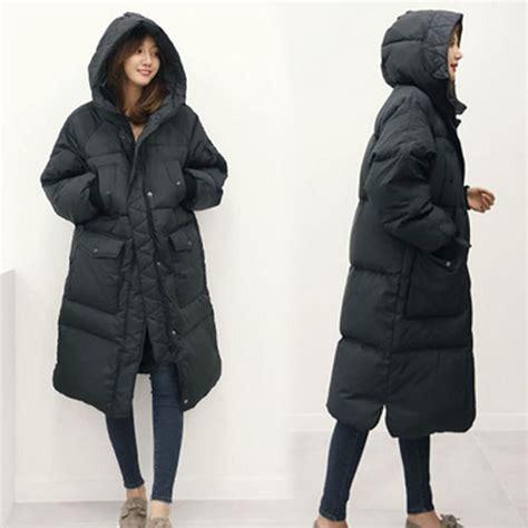 Coat Blezer Korea korean oversized winter jacket hooded thicken warm padded parkas black army