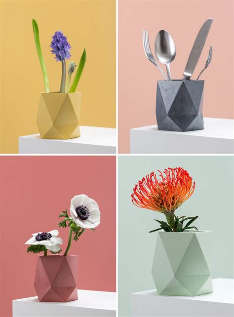 geometric home decor these colorful concrete planters and vases add a geometric