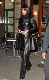 rihanna shows off new bob haircut in leather