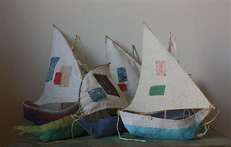 Handmade Sailboat - paper mache boat pattern wood handmade