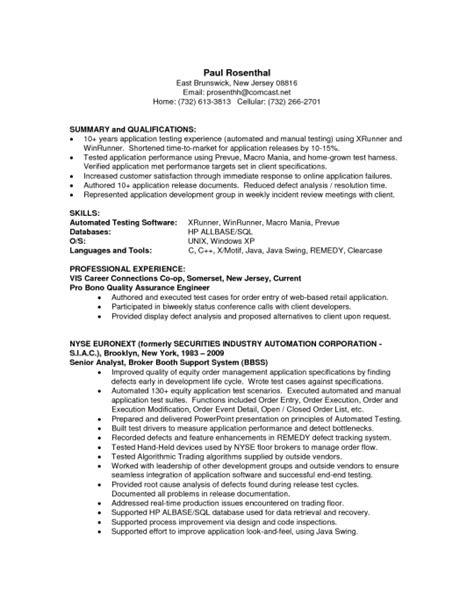 stylish quality analyst resume resume format web