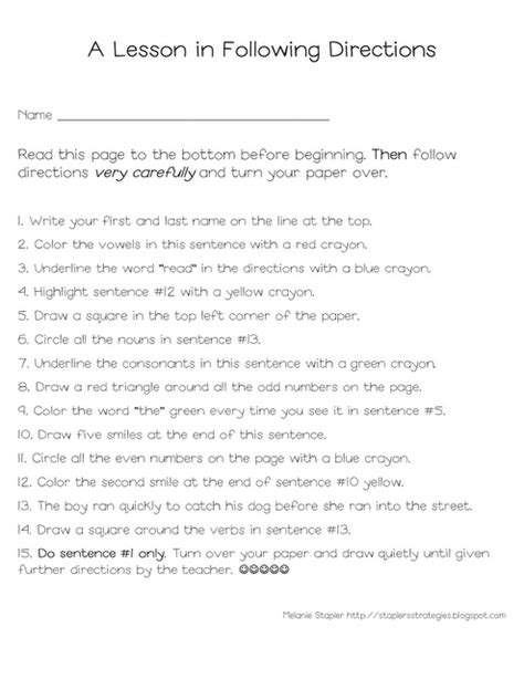 Following directions. Had a teacher give this test in high