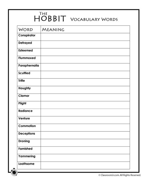 vocabulary words worksheet template hobbit vocabulary worksheet woo jr activities