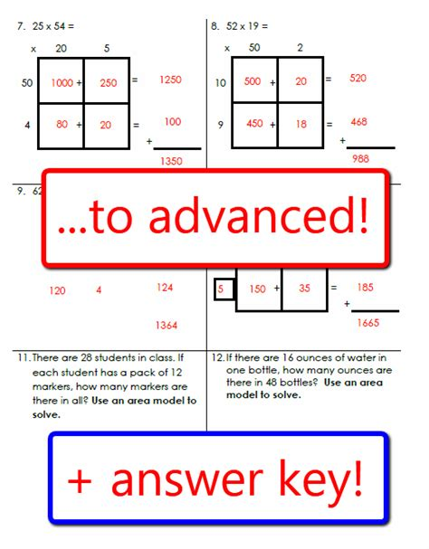 Math Models Worksheets by Area Model Multiplication Worksheets And Powerpoint Lesson
