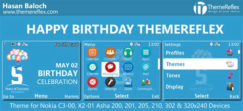 nokia c3 themes with media player skin happy birthday themereflex themes for nokia series 40
