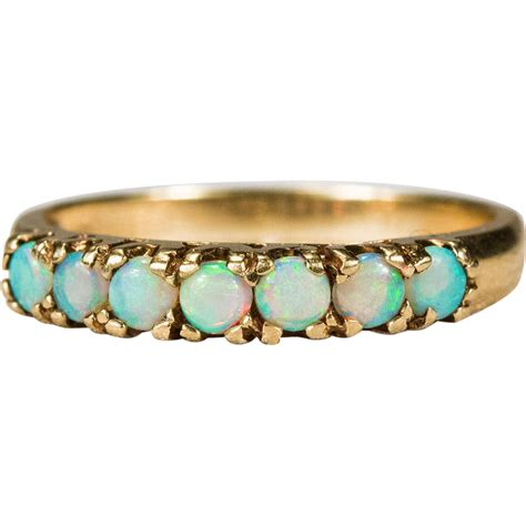 opal ring 10k gold opal wedding band stacking ring