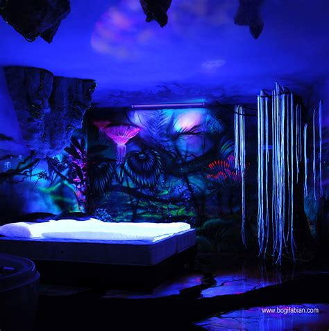 pictures of beautiful black light rooms artist paints rooms with murals that glow under blacklight